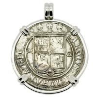 Spanish 4 reales 1542-1548 in 14k white gold pendant, 1550 shipwreck Northern Caribbean Sea.