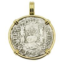 Spanish Pillar 1 real dated 1768 in 14k gold pendant, The 1784 Shipwreck that Changed America.