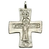 Byzantine Empire 10th-12th century, engraved Jesus Christ silver cross pendant.
