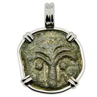 Holy Land AD 6 - 12, Biblical Widow's Mite in 14k white gold pendant.
