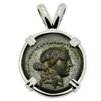 Greek 133-80 BC, God Apollo and Club bronze coin in 14k white gold pendant.