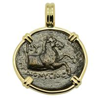 Greek 300-250 BC, Horse and Oinochoe bronze coin in 14k gold pendant.