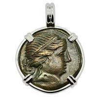 Greek 215-175 BC, Amazon warrior and Athena bronze coin in 14k white gold pendant.