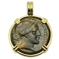 Greek 250-200 BC, Amazon warrior Kyme and horse bronze coin in 14k gold pendant.