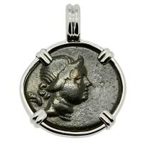 Greek 125-100 BC, Nike and quiver with bow bronze coin in 14k white gold pendant.