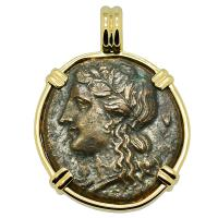 Greek Syracuse 289-287 BC, Persephone and Charioteer bronze coin in 14k gold pendant.