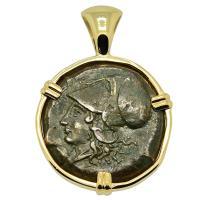 Greek 405-367 BC, Athena and Hippocamp bronze hemilitron in 14k gold pendant.