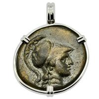 Greek 133- 48 BC, Athena and eagle bronze coin in 14k white gold pendant.
