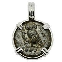 Greek Sicily 420-410 BC, Owl and Gorgon tetras in 14k white gold pendant.