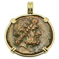 Greek 214-210 BC, Zeus and thunderbolt bronze dekonkion coin in 14k gold pendant.