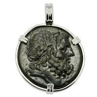 Greek 133-48 BC, Zeus and Artemis Anaitis bronze coin in 14k white gold pendant.