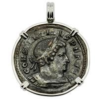 Roman Empire AD 315–317, Constantine and Sol follis in 14k white gold pendant.