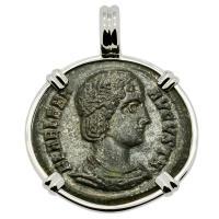 Roman Empire AD 325–326, Saint Helena follis in 14k white gold pendant.