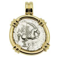 Greek 229-48 BC, Pegasus and Dionysus didrachm in 14k gold pendant.