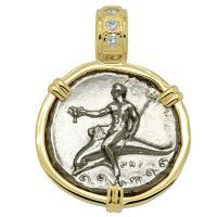 Greek - Italy 330-325 BC, Taras riding Dolphin and Horseman nomos in 14k gold pendant with diamonds.