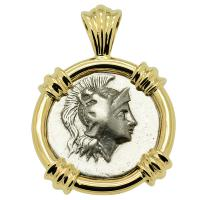 Greek - Italy 272 - 240 BC, Athena and Owl drachm in 14k gold pendant.