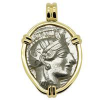 Greek 454-404 BC, Athena and Owl tetradrachm in 14k gold pendant.