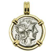 Roman Republic 134 BC, Roma and Victory chariot denarius in 14k gold pendant.