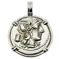 Roman Republic 134 BC, Roma and Victory chariot denarius in 14k white gold pendant.