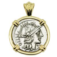 Roman Republic 148 BC, Roma and Dioscuri denarius in 14k gold pendant.