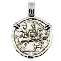 Roman Republic 146 BC, Dioscuri and Roma denarius in 14k white gold pendant.