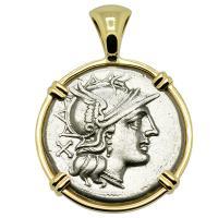 Roman Republic 154 BC, Roma and Dioscuri denarius in 14k gold pendant.