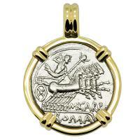 Roman Republic 122 BC, Jupiter chariot and Roma denarius in 14k gold pendant.