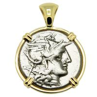 Roman Republic 169-158 BC, Roma and Luna chariot denarius in 14k gold pendant.