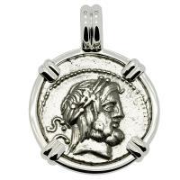 Roman Republic 80 BC, King and Queen of the Gods denarius in 14k white gold pendant.