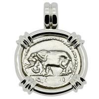 Roman Republic 81 BC, Elephant and Pietas denarius in 14k white gold pendant.