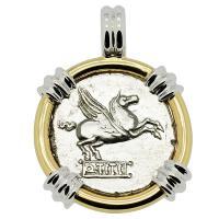 Roman Republic 90 BC, Pegasus and Bacchus denarius in 14k white and yellow gold pendant.