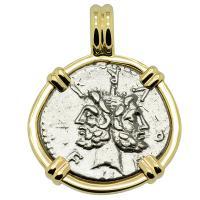 Roman Republic 120 BC, Janus and Roma denarius in 14k gold pendant.