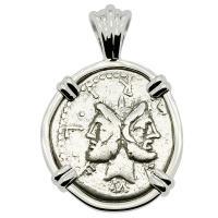 Roman Republic 120 BC, Janus and Roma denarius in 14k white gold pendant.
