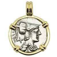 Roman Republic 137 BC, Mars and Warriors Oath Taking Scene denarius in 14k gold pendant.