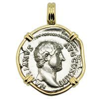 Roman Empire AD 125-134, Hadrian and Fortuna denarius in 14k gold pendant.