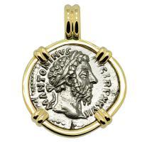 Roman Empire AD 173, Marcus Aurelius and Victoria denarius in 14k gold pendant.