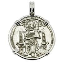 Venice 1329-1339, Jesus Christ and Saint Mark grosso in 14k white gold pendant.