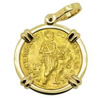Dutch Ducat dated 1776 in 14k gold pendant.