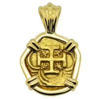 Spanish escudo 1621-1665, in 18k gold pendant.