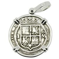 Colonial Spanish Mexico, Johanna and Charles I one real 1548-1553, in 14k white gold pendant.