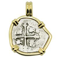 Colonial Spanish Mexico, 1700-1723, Philip V one real in 14k gold pendant.