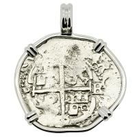 Colonial Spanish Peru, King Charles II one real dated 1669, in 14k white gold pendant.