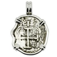 Colonial Spanish Peru, King Ferdinand VI one real dated 1748, in 14k white gold pendant.