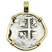 Colonial Spanish Peru, King Philip V two reales dated 1735, in 14k gold pendant.