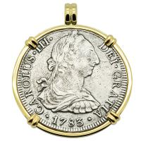 Spanish 8 reales dated 1783 in 14k gold pendant, The 1784 Shipwreck that Changed America.