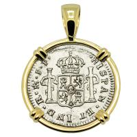 Spanish 1/2 real dated 1779 in 14k gold pendant, The 1784 Shipwreck that Changed America.