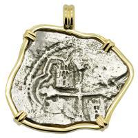 Spanish 8 reales 1634-1641, in 14k gold pendant, 1641 Shipwreck Silver Shoals Dominican Republic.