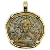 Byzantine 1078–1081, bronze follis in 14k gold pendant.