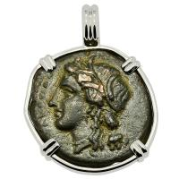 Greek Syracuse 289-287 BC, Persephone and Charioteer bronze coin in 14k white gold pendant.