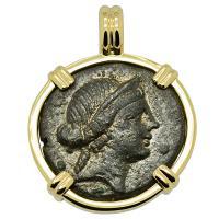 Greek 167-133 BC, Goddess of Love Aphrodite bronze coin in 14k gold pendant.
